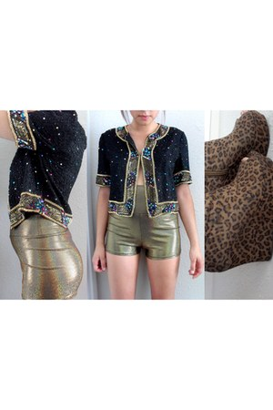 black sequin jacket - gold metallic shorts