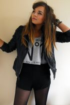 black Primark jacket - gray Boohoo vest - black H&M shorts