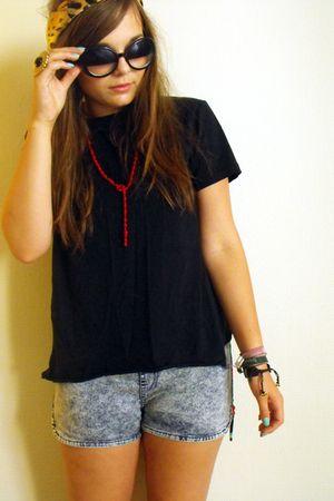 blue H&M shorts - black Topman t-shirt - red Ebay accessories - Girl Props glass