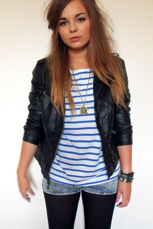 black Primark jacket - blue H&M top - blue H&M shorts - gold Zara Taylor accesso