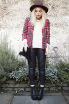 crimson fedora Primark hat - brick red plaid River Island jacket