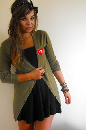 black Topshop dress - green H&M cardigan - red Primark accessories - black Prima
