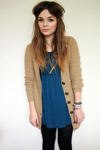 camel Primark cardigan - blue Forever21 dress - black H&M leggings - tan Zara Ta