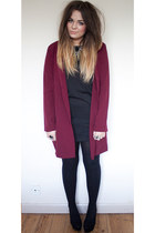 maroon burgandy Boohoo jacket - black leather panel internationale dress