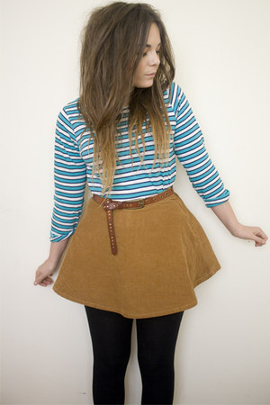 sky blue striped new look top - camel corduroy American Apparel accessories