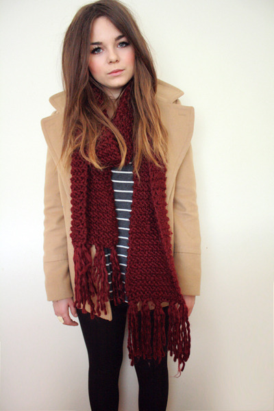 maroon Forever 21 scarf - camel new look coat - heather gray Forever 21 t-shirt