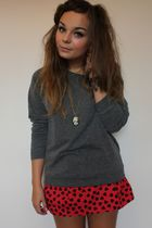 gray H&M jumper - red H&M skirt - black Zara Taylor accessories