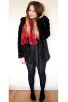 black fur Topshop coat - red plaid River Island scarf