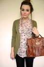 Pink-primark-shirt-green-h-m-cardigan-black-h-m-shorts-brown-bag