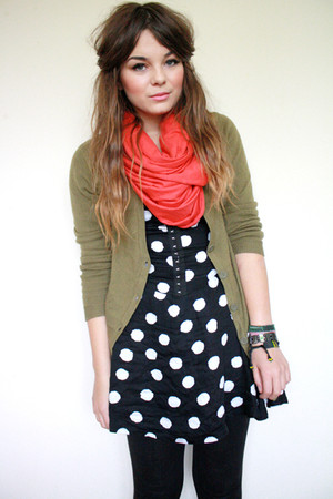 green H&amp;M cardigan - blue polka dot Motel Rocks dress