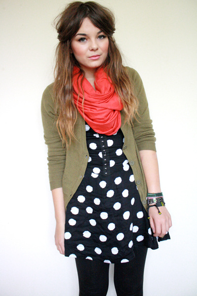 green H&M cardigan - blue polka dot Motel Rocks dress
