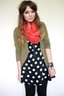 Green-h-m-cardigan-red-handmade-scarf-blue-motel-rocks-dress