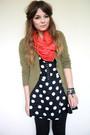 Green-h-m-cardigan-red-handmade-scarf-blue-motel-rocks-dress