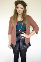 salmon oversized Topshop cardigan - teal loveng sleeved Forever 21 top - black p