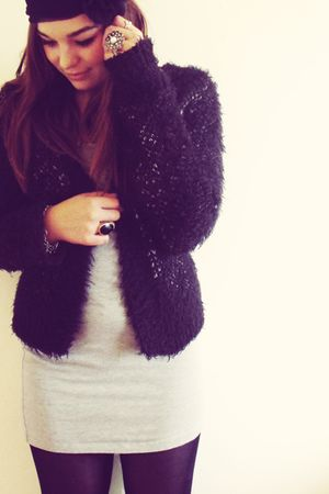 black Topshop cardigan - silver American Apparel dress - black Primark tights -
