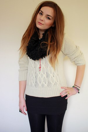 beige Primark jumper - black textured snood Primark scarf - black H&amp;Ms skirt