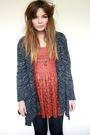 Orange-topshop-dress-gray-new-look-cardigan-gold-zara-taylor-necklace