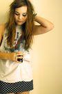 Gray-topshop-t-shirt-black-primark-skirt-red-ebay-accessories-silver-asos-