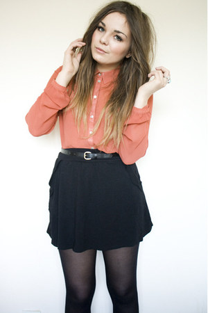 red sheer Primark shirt - black scalloped edged Zara skirt - black Primark belt