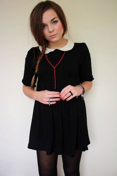 black asos dress - ruby red knotted rosary Ebay necklace
