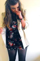 beige cropped trench Primark coat - black floral playsuit Topshop shorts