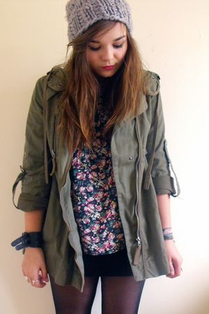 blue Primark shirt - green Topshop coat - gray slouchy hat H&M hat