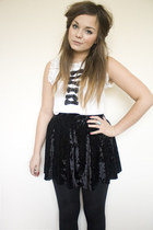 black velvet Primark skirt - white bow front via eBay top