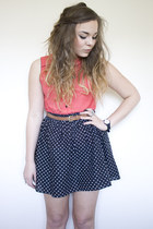 ruby red tie neck Topshop top - navy polka dot H&M skirt - brown brown Primark b
