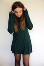 Green-topshop-dress-purple-primark-cardigan