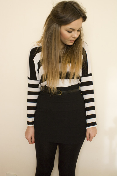 white H&M top - black H&M skirt - black skinny Primark belt