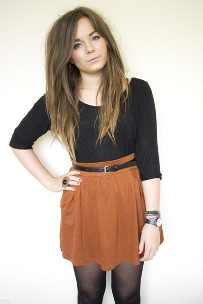 carrot orange Zara skirt - black H&M shirt - black Primark belt