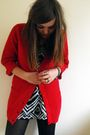 Red-primark-cardigan-black-h-m-dress
