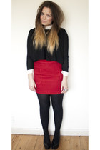 ruby red Topshophop skirt - black romwe shirt