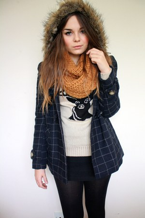 beige stag jumperw Primark sweater - navy checkered George At Asda coat