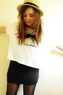Black-h-m-skirt-white-new-look-t-shirt-beige-primark-hat