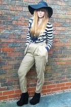 Topshop wedges - H&M hat - Topshop cardigan - Topshop pants