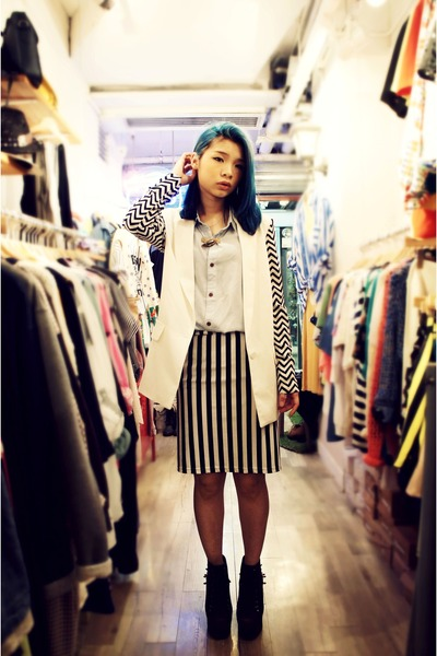 light blue blue shirt - black Tasty skirt - white suit