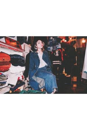 black Monki hat - blue vintage jacket - blue skirt