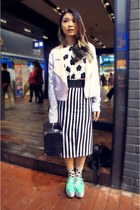 mix colour jacket - dotted socks - straight skirt - flower top - platform flats