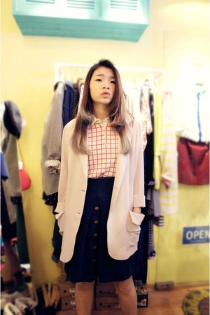 red line Uniqlo top - creamy korea coat - Tasty hat - blue corduroy korea skirt