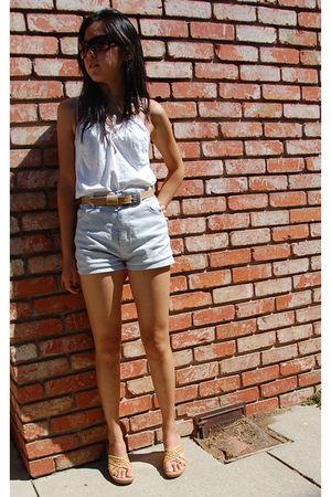 blue calvin klein shorts - beige belt - white shirt - beige shoes