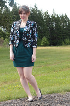 black Forever 21 jacket - teal Forever 21 dress - black glitter Old Navy flats