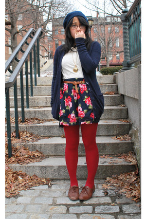 brown Target shoes - ruby red Walmart tights - navy Heritage 1981 skirt - gold F