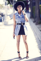 American Apparel dress - jean dress vintage dress - Nasty Gal hat - Tibi sandals
