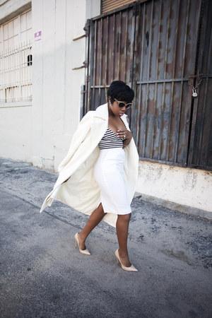 vintage skirt - Missguided coat - Jimmy Choo heels - Missguided top