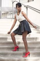 peplum lulus top - red nubuck Jenni Kayne boots - faux leather asos skirt