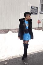 vintage penelopes vintage t-shirt - Tahari boots - leather Zara jacket