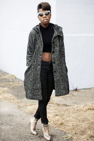swing coat hm coat - coated Zara jeans - crop top asos top