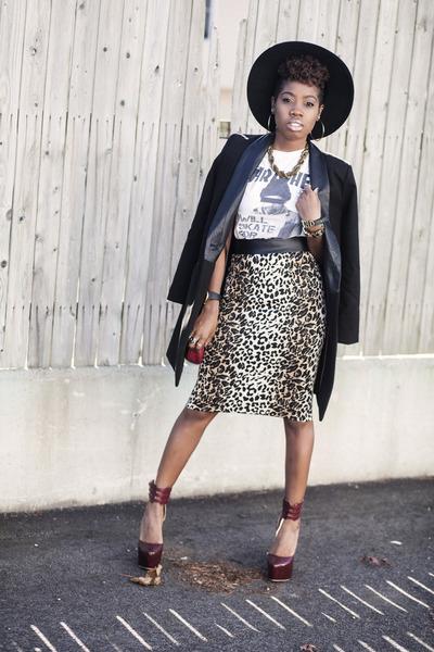 PUBLIK skirt - BB Dakota coat - asos hat - Urban Outfitters shirt