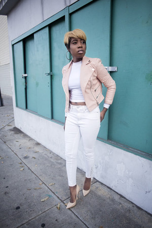 leather jacket Missguided jacket - white jeans Urban Outfitters jeans